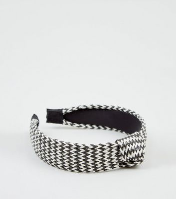 Monochrome Raffia Knot Top Headband