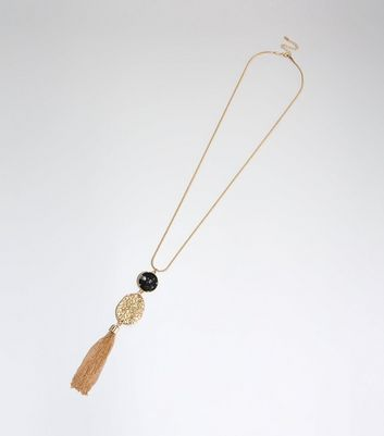 Gold Beaten Tassel Pendant Long Necklace
