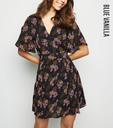 084b873bf12 ... Blue Vanilla Navy Tropical Floral Wrap Dress ...