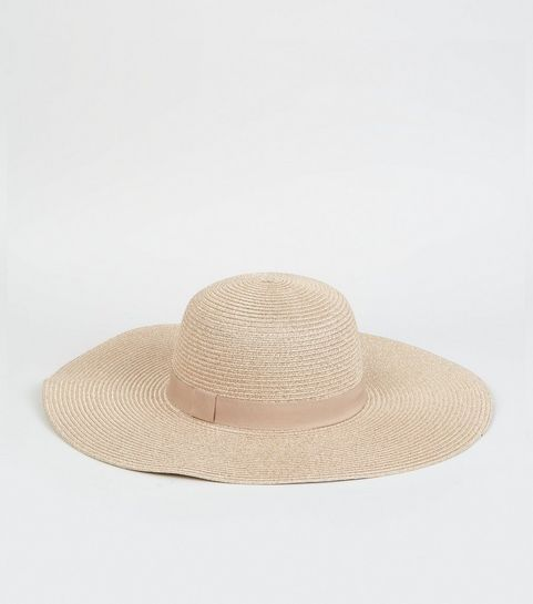 5518429d8f5 ... Rose Gold Straw Effect Floppy Hat ...