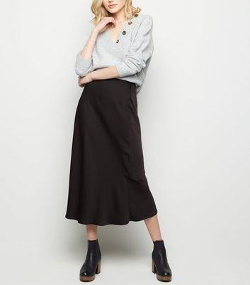 Black Satin Bias Cut Midi Skirt by New Look