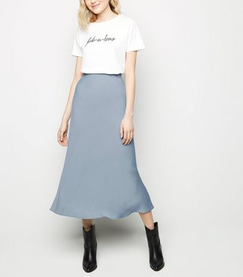 Grey Satin Bias Cut Midi Skirt by New Look