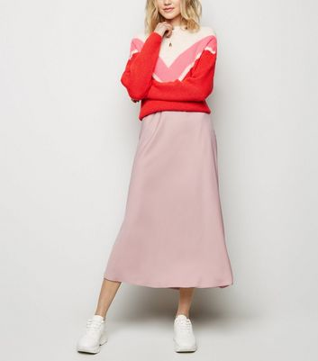 Mid Pink Satin Bias Cut Midi Skirt by New Look