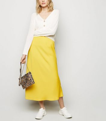Mustard Satin Bias Cut Midi Skirt