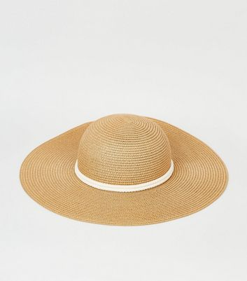 Tan Straw Effect Rope Ribbon Floppy Hat