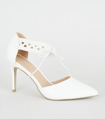 White Leather-Look Woven Strap Court Shoes