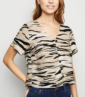 Brown Tiger Print Boxy Shirt