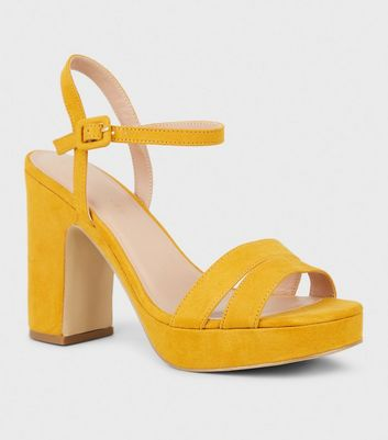 Wide Fit Mustard Suedette 2 Part Platform Heels