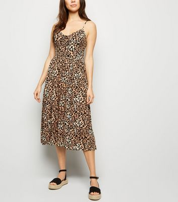 Brown Leopard Print Lattice Midi Dress