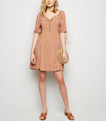 Orange Ditsy Lace Up Dress