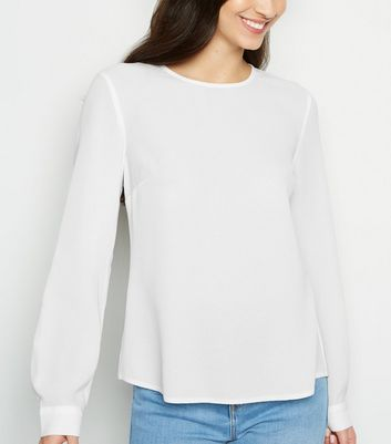 Off White Button Back Long Sleeve Shirt