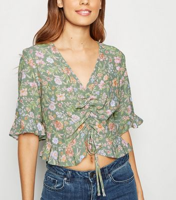 Green Floral Ruched Frill Top