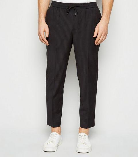2301a008e06 Black Pinstripe Slim Crop Trousers · Black Pinstripe Slim Crop Trousers ...
