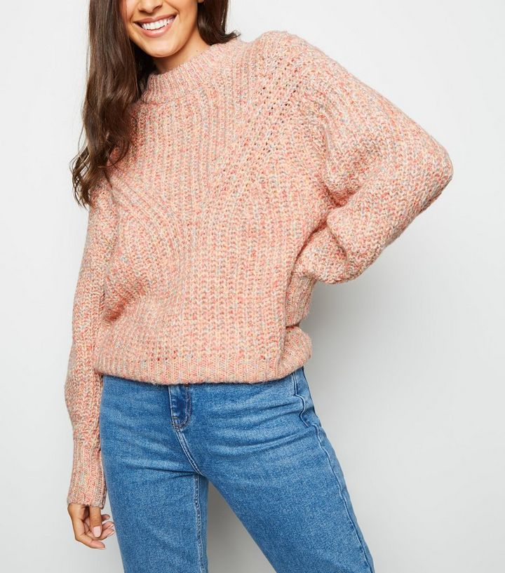 81706a67eb Pink Rainbow Twist Knit Crew Neck Jumper