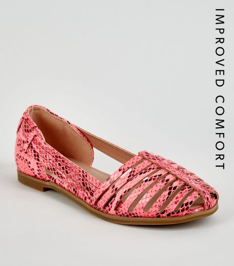 ... Girls Pink Neon Faux Snake Caged Pumps ... b14f6fc8aef3