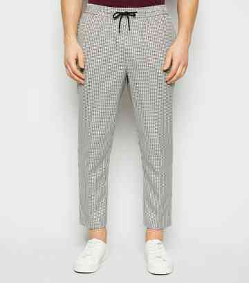 Stone Gingham Check Slim Crop Trousers
