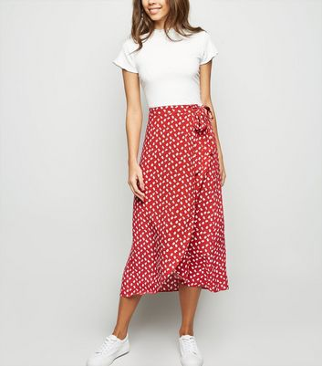 Red Ditsy Floral Wrap Midi Skirt