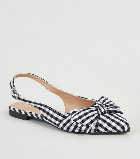 ef4b518b9f24 ... Girls Black Gingham Bow Pointed Slingbacks ...