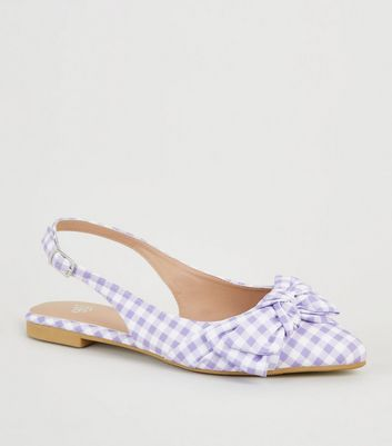 Girls Purple Gingham Bow Pointed Slingbacks