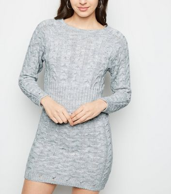 Cameo Rose Grey Cable Knit Jumper Dress