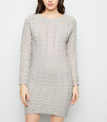 Cameo Rose Stone Cable Knit Jumper Dress