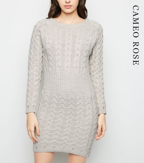 d97b53444ba2 ... Cameo Rose Stone Cable Knit Jumper Dress ...