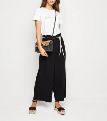 Black Linen Look Rope Belt Wide Leg Trousers
