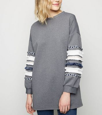 Cameo Rose Grey Ribbed Tassel Trim Sweatshirt