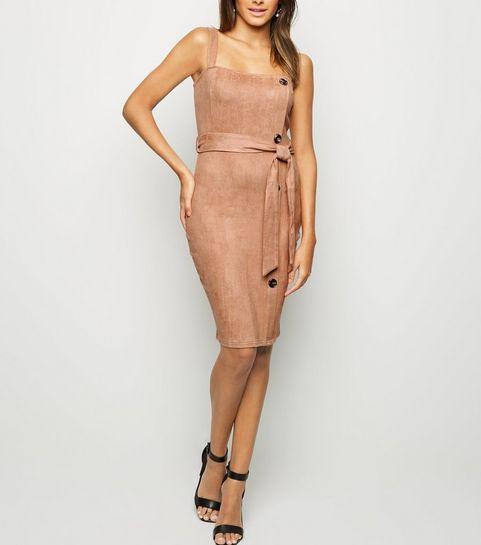 ... AX Paris Camel Suedette Button Side Dress ... 13dba6d57