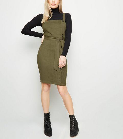 ... AX Paris Olive Suedette Button Side Dress ... c4db96abad95