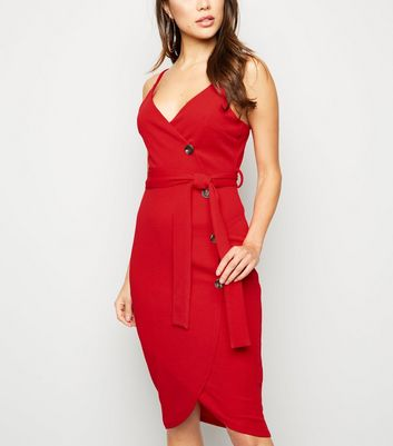 AX Paris Red Button Wrap Front Dress