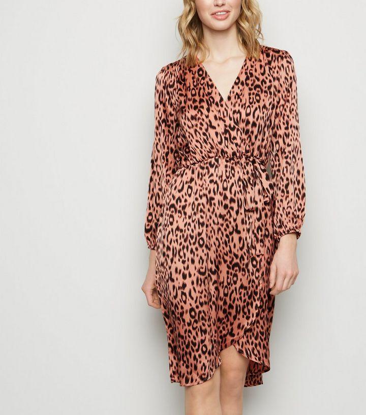 d3c3380d4ef AX Paris Pink Leopard Print Satin Wrap Dress