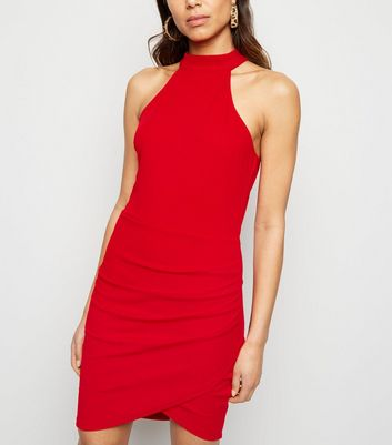 AX Paris Red High Neck Wrap Dress