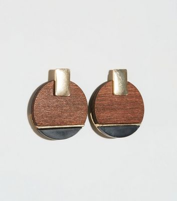Brown Wood and Resin Studded Earrings