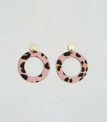 Mid Pink Leopard Print Disc Earrings