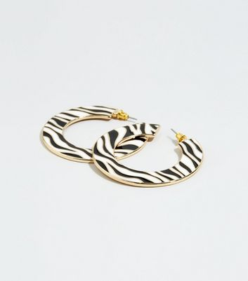 Black Wide Zebra Print Hoop Earrings