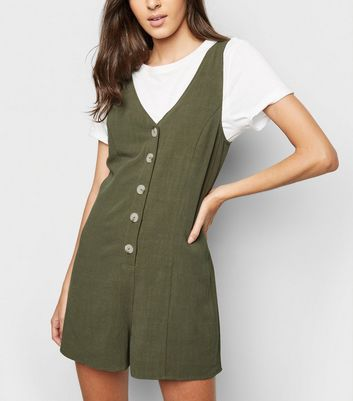 Khaki Linen Look Button Up Romper Playsuit