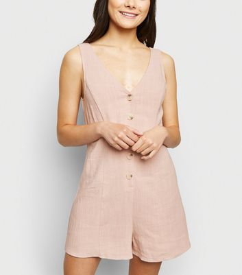 Pale Pink Linen Look Button Front Playsuit