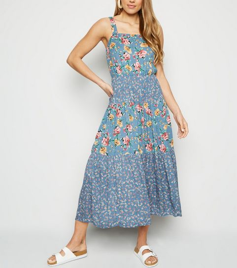 28c31cb2e50b ... Blue Mixed Floral Tiered Midi Dress ...