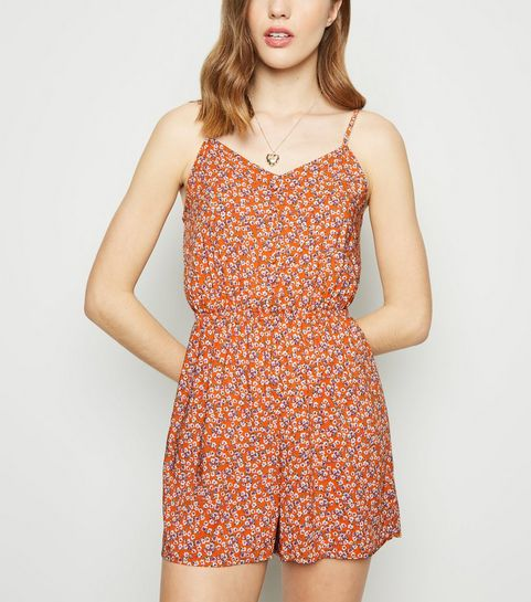 c1c60394ea5 ... Orange Ditsy Floral Button Front Playsuit ...