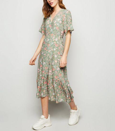 ... Green Floral Frill Hem Midi Dress ... 702580ef1