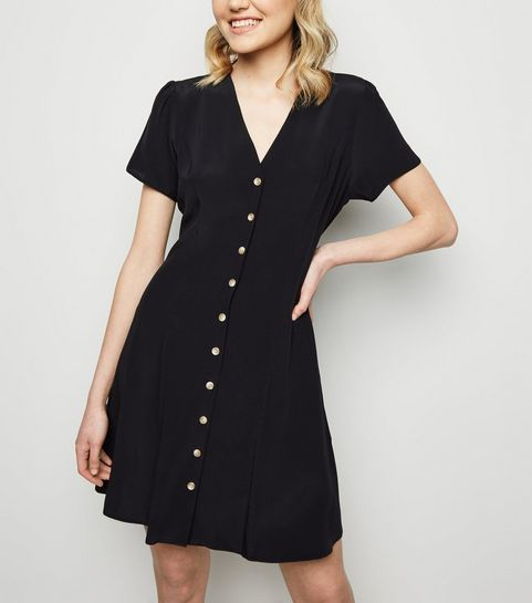... Black Button Up Tea Dress ... 8f7312138