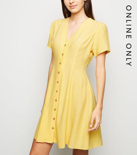 c078d76b88b ... Pale Yellow Button Up Tea Dress ...