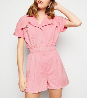 Mid Pink Acid Wash Denim Playsuit