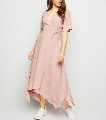 Pale Pink Hanky Hem Wrap Midi Dress