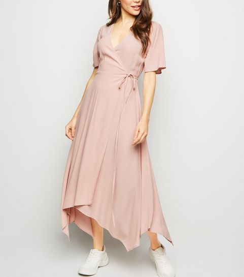 8dde5f2fa56c1 ... Pale Pink Hanky Hem Wrap Midi Dress ...