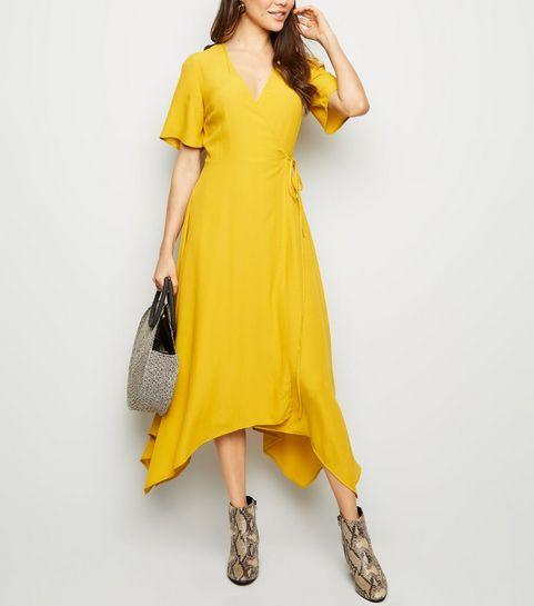 03371961e928 ... Mustard Hanky Hem Wrap Midi Dress ...