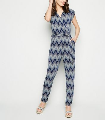 Blue Vanilla Navy Zig Zag Textured Jumpsuit