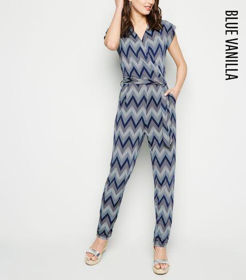 03f1448ad11 ... Blue Vanilla Navy Zig Zag Textured Jumpsuit ...