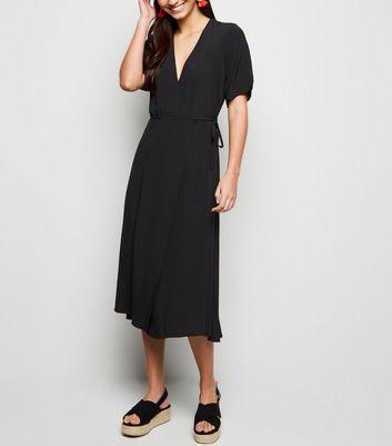 Black Tie Side Midi Wrap Dress by New Look
